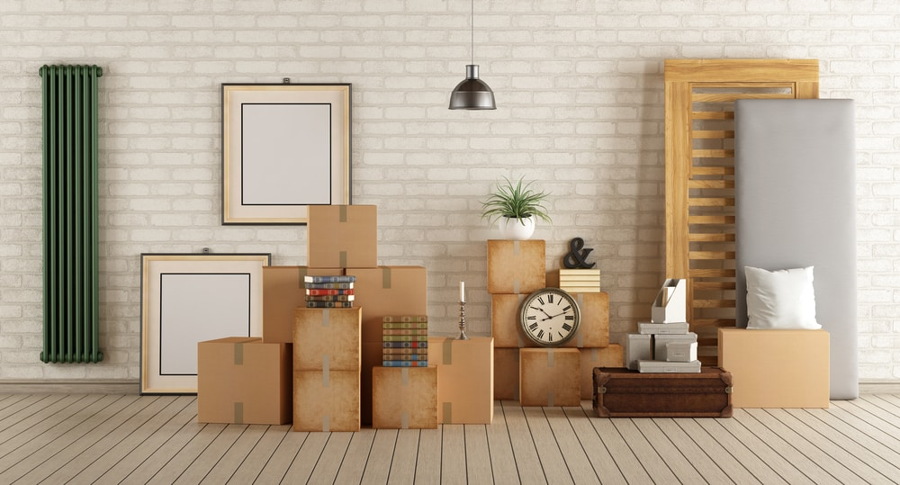 boxes packed up in house - moving concept